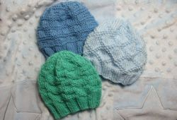 Textured Baby Hats for Straight Needles