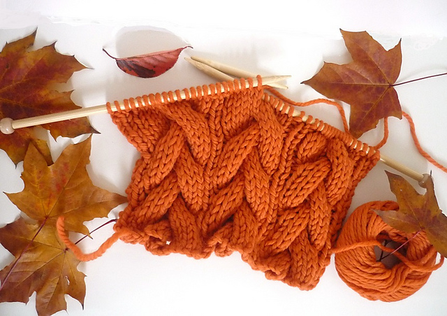 halloween pumpkin orange cable scarf free knitting pattern - Free Halloween Knitting Patterns