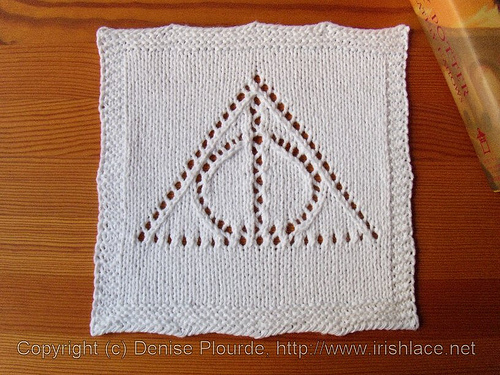 Knitting Patterns Galore Deathly Hallows Washcloth