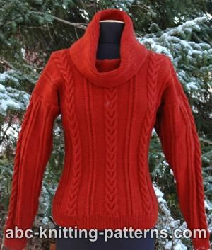 870bae8fb955 ... Knitting Pattern. Cowl Neck Sweater with Cables · Click to Enlarge