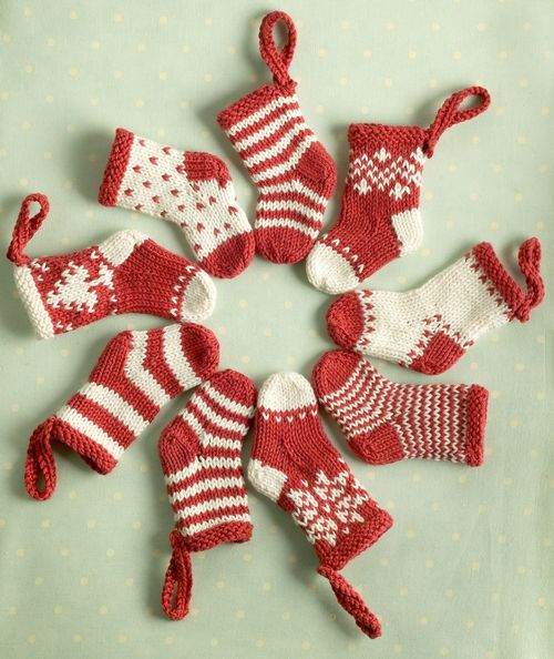 Knitting Patterns Galore Mini Christmas Stocking Ornaments