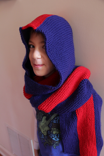 Knitting Patterns Galore Super Fan Hooded Scarf