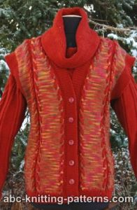 Autumn Cabled Vest from Hand-Dyed Yarn