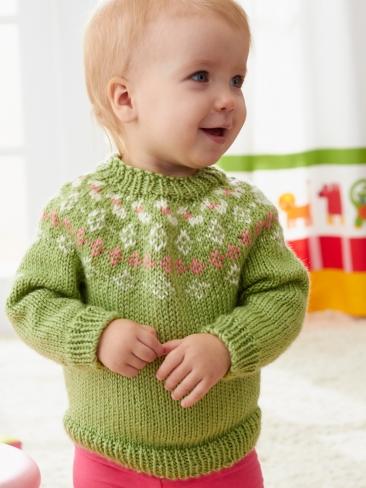 Knitting Patterns Galore - Girls Garden Flowers Fair Isle Yoke Sweater