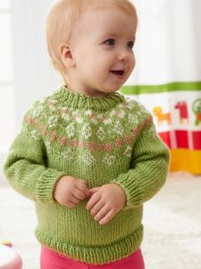 Girls' Garden Flowers Fair Isle Yoke Sweater