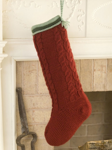 Knitting Patterns Galore - Cabled Christmas Stocking