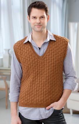 Knitting Patterns Galore - Men's Basketweave Vest