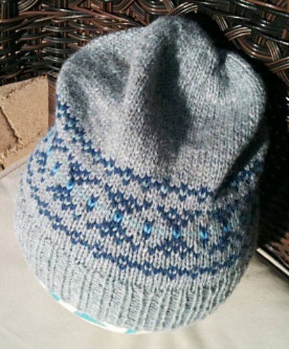 Knitting Patterns Galore - Destashification Fair Isle Slouch Hat