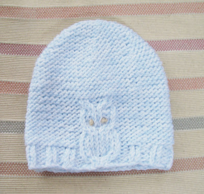 Knitting Patterns Galore - Owl Baby Hat