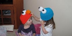 Elmo and Cookie Monster Knit Hats