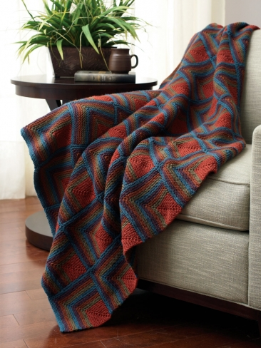 Free Knitting Pattern Mitered Afghan : Knitting Patterns Galore - Mitered Squares