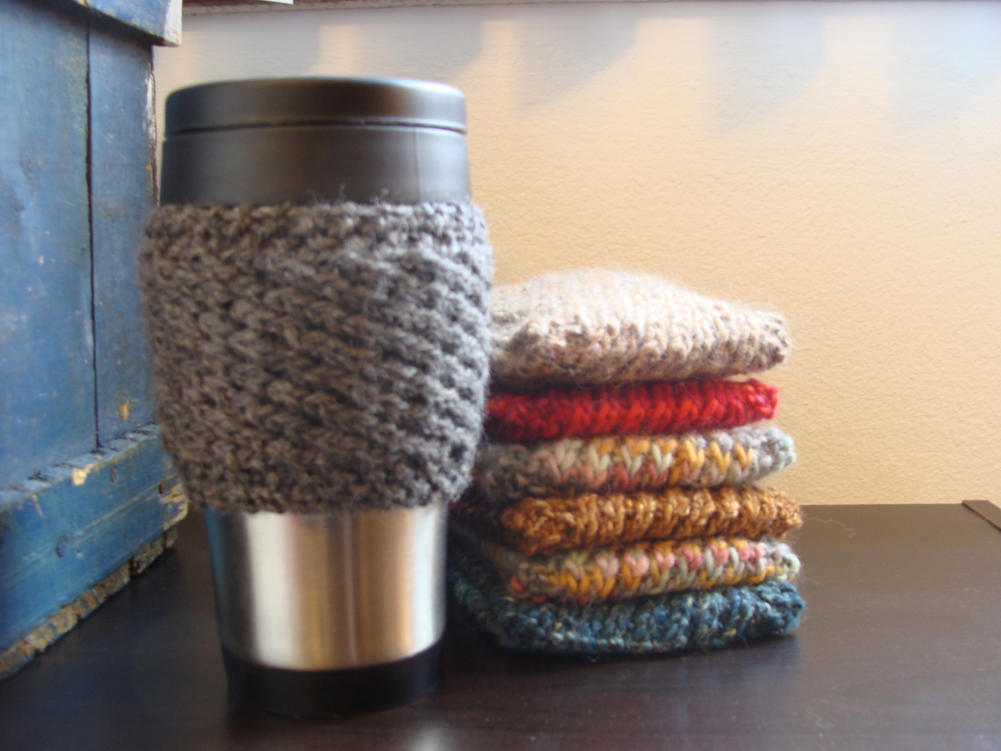 Knitting Patterns Galore - Corrugated Coffee Cozy