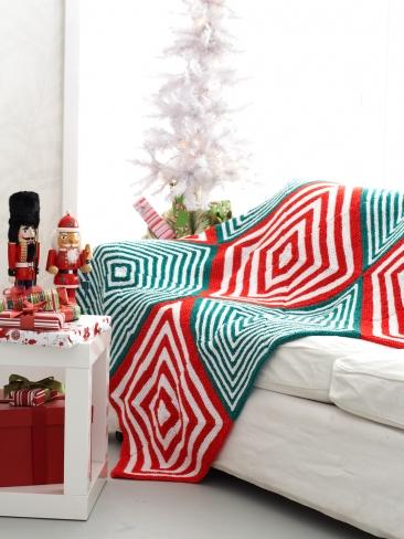 Knitting Patterns Christmas Blanket : Knitting Patterns Galore - Mitered Christmas Blanket