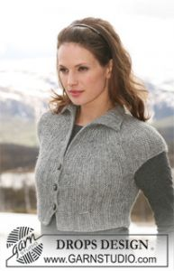 Short Jacket with Short Sleeves Knitted from Side to Side