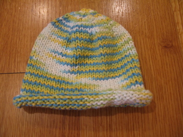 Knitting Patterns Galore - Basic Newborn Baby Hat - Rolled Brim
