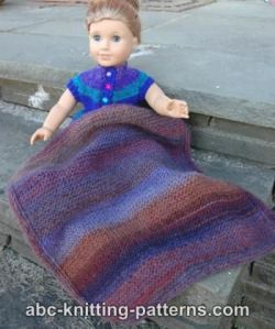 Easy Garter Stitch Blanket with Applied I-cord for a Doll