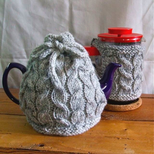 Knitting Patterns Galore Cabled Cafetire Tea Cozy