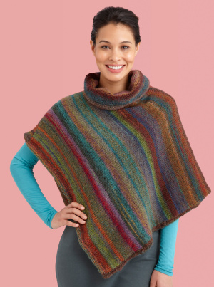 Cowl Neck Poncho Knitting Pattern : Knitting Patterns Galore - Cowl Neck Striped Poncho