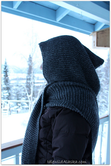 Knitting Patterns Galore Wide Hooded Scarf
