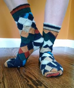 Entrelac Seed Stitch Toe Up Socks