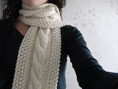 Knitting Patterns Galore - Cozy Wooly Cabled Scarf