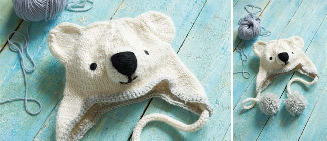 Knitting Patterns Galore Knitted Polar Bear Hat