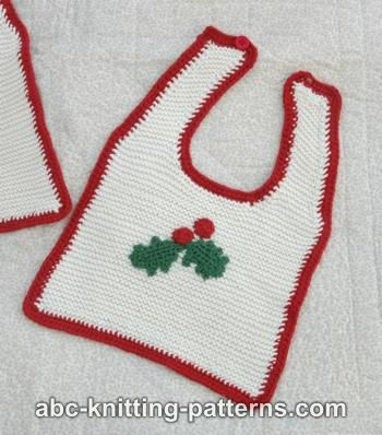 Knitting Patterns Galore Knitted Baby Christmas Bib With Crochet