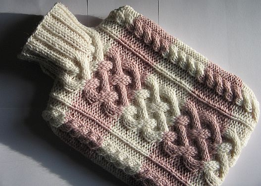 Knitting Patterns Galore Cabled Hot Water Bottle Covercozy
