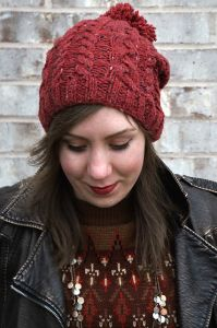 Slouchy Cable Hat with Pom-Pom