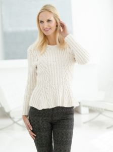 Cable Peplum Pullover