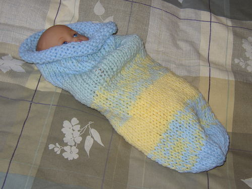 Knitting Patterns Galore - Baby Cuddle Sack Hand Knit