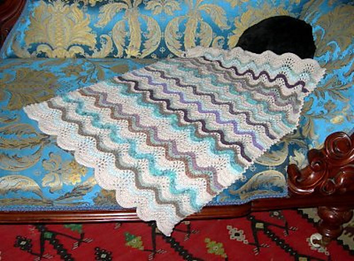 Knitting Patterns Galore Feather Amp Fan Baby S Blanket