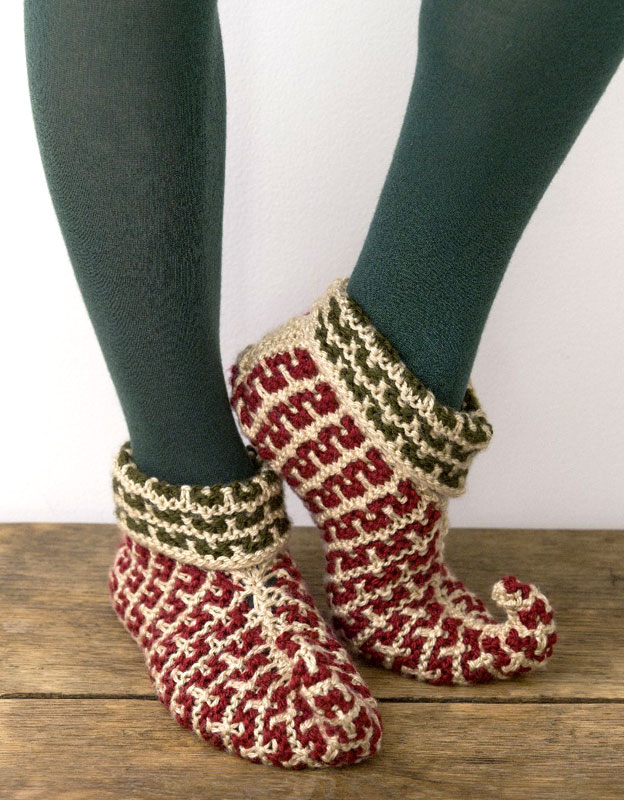 Knitting Patterns Galore - Elf Slippers