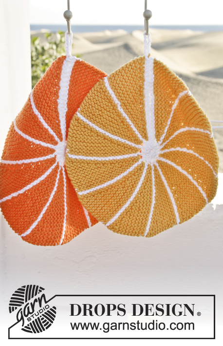 9d94a5484 Knitted DROPS pot holders as lemon and orange