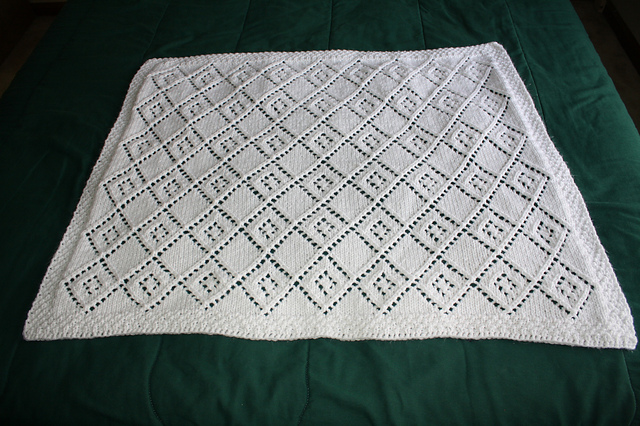 Diamond Lace Panel Blanket Knitting Pattern Images - Frompo