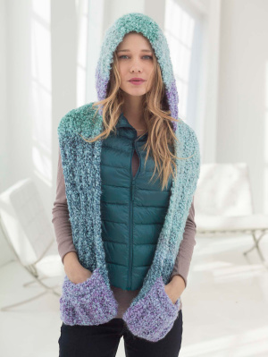 Hooded Scarf Knit Pattern Easy : Knitting Patterns Galore - Hooded Scarf With Pockets