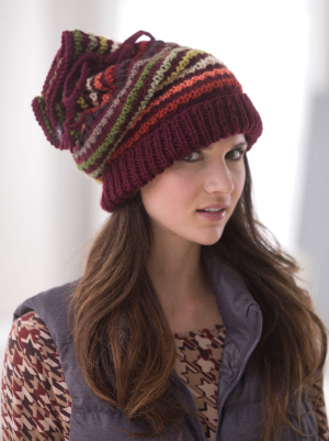 Knitting Patterns Galore Drawstring Slouch Hat