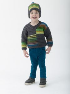 Cozy Colorblock Pullover And Hat