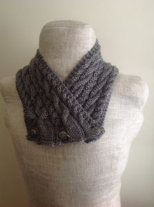 Grey Cabled Neck Wrap