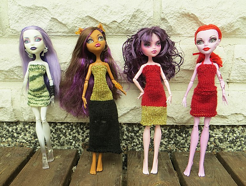 Knitting Patterns Galore - Summer Party Dresses for Monster High dolls