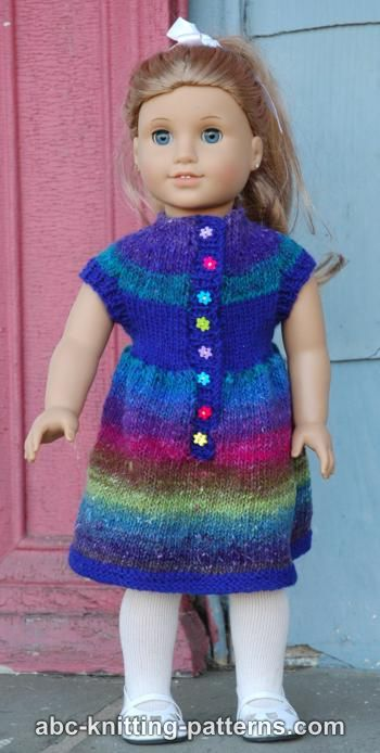 Knitting Patterns For American Doll Clothes : Knitting Patterns Galore - American Girl Doll Round Yoke Dress