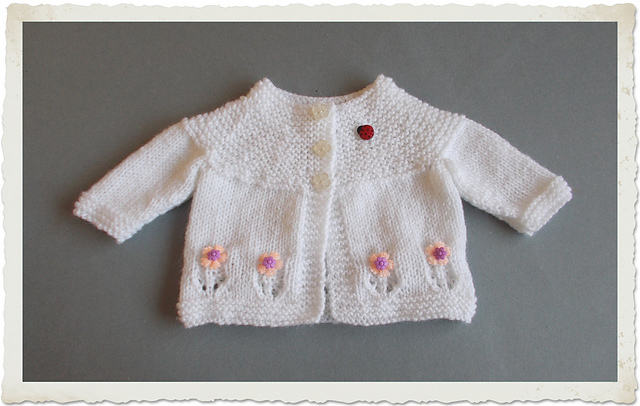 Knitting Patterns Galore Fleur Baby Cardigan Jacket