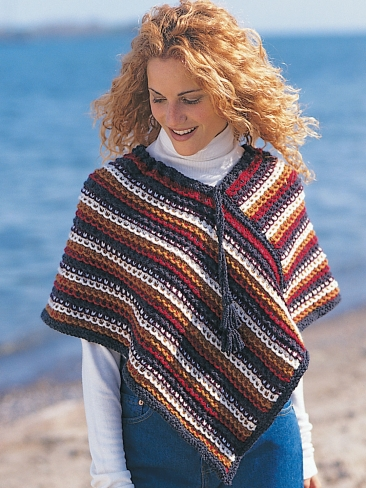 Knitting Patterns Galore - Easy Rustic Stripes Poncho