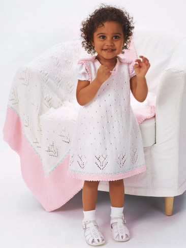 Knitting Patterns Galore - Tulip Lace Dress with Blanket