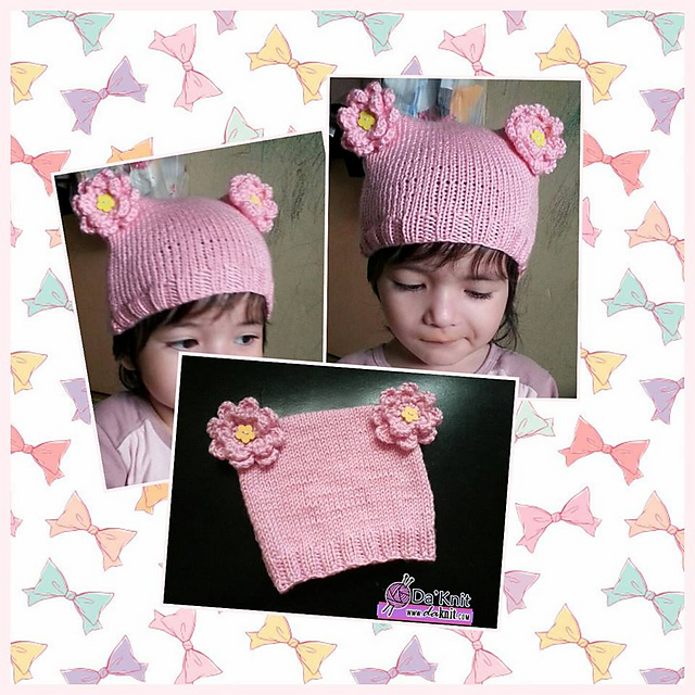 Knitting Patterns Galore Flower Kitty Hat