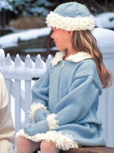 Girl's Loop Trim Jacket, Skirt, Hat & Mitts