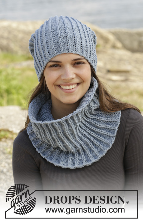 b959e1f9f50 Knitted DROPS hat and neck warmer in false English rib