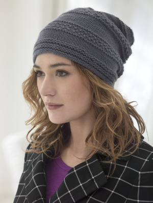 Knitting Patterns Galore Seed Banded Slouch Hat