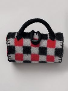 Felted Buffalo Plaid Roll Bag