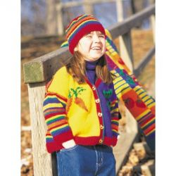 Veggies and Stripes Cardigan and Hat